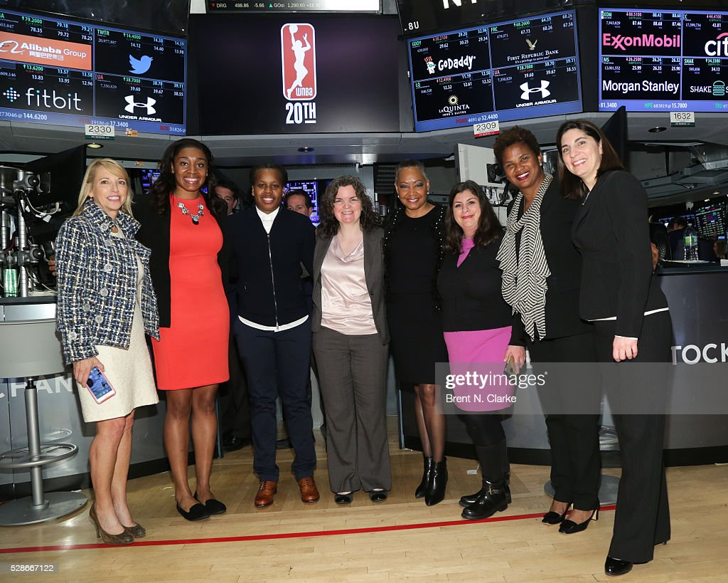 Chief Operating Officer, WNBA Jay Parry, basketball players <a gi-track='captionPersonalityLinkClicked' href=/galleries/search?phrase=Morgan+Tuck&family=editorial&specificpeople=9082603 ng-click='$event.stopPropagation()'>Morgan Tuck</a>, <a gi-track='captionPersonalityLinkClicked' href=/galleries/search?phrase=Epiphanny+Prince&family=editorial&specificpeople=490901 ng-click='$event.stopPropagation()'>Epiphanny Prince</a>, Manager, Player Programs, WNBA Bonnie Thurston, President of the WNBA <a gi-track='captionPersonalityLinkClicked' href=/galleries/search?phrase=Lisa+Borders&family=editorial&specificpeople=4578856 ng-click='$event.stopPropagation()'>Lisa Borders</a>, Director, WNBA Communications Dina Skokos, Chief of Basketball Operations and Player Relations, WNBA Renee Brown and Chief Operating Officer, NYSE Group Stacey Cunningham pose for photographs after ringing the NYSE closing bell in celebration of the WNBA's 20th Season on May 6, 2016 in New York City.