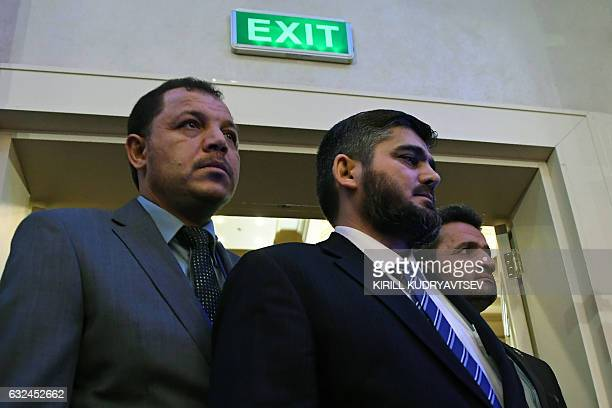 Chief opposition negotiator Mohammad Alloush of the Jaish alIslam rebel group arrives to attend the first session of Syria peace talks at Astana's...