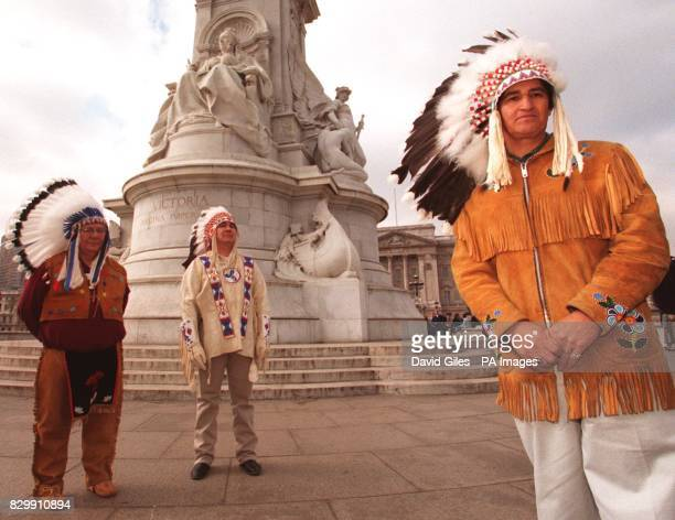 Chief Ovide Mecredi National Chief of the prinicpal Canadian Indian organisation with Chief Ray Roger head of the Chippowas Indians and Willie...