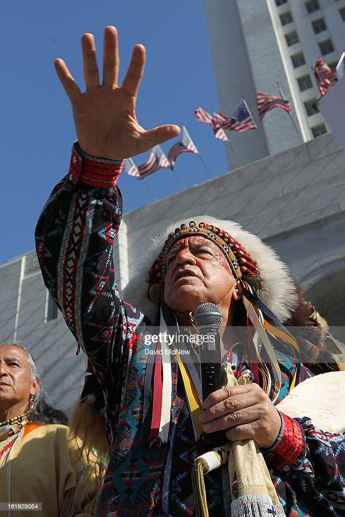 Chief Phil Lane of the Yankton Dakota and Chickasaw First Nations speaks on the steps of City Hall during the 'Forward on Climate' rally to call on President Obama to take strong action on the climate crisis on February 17, 2013 in Los Angeles, California. Organizers say the rally, which is led by Tar Sands Action Southern California and Sierra Club, is composed of a coalition of over 90 groups and coincides with similar rallies in Washington D.C. and other U.S. cities.