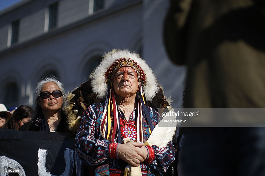 Chief Phil Lane of the Yankton Dakota and Chickasaw First Nations awaits his introduction to speak on the steps of City Hall during the 'Forward on Climate' rally to call on President Obama to take strong action on the climate crisis on February 17, 2013 in Los Angeles, California. Organizers say the rally, which is led by Tar Sands Action Southern California and Sierra Club, is composed of a coalition of over 90 groups and coincides with similar rallies in Washington D.C. and other U.S. cities.