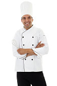 Stock image of male chef isolated on white background