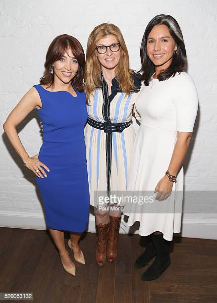 VP Chief Privacy Officer Policy at Facebook Erin Egan actress Connie Britton and Congresswoman Tulsi Gabbard attend the Glamour and Facebook brunch...