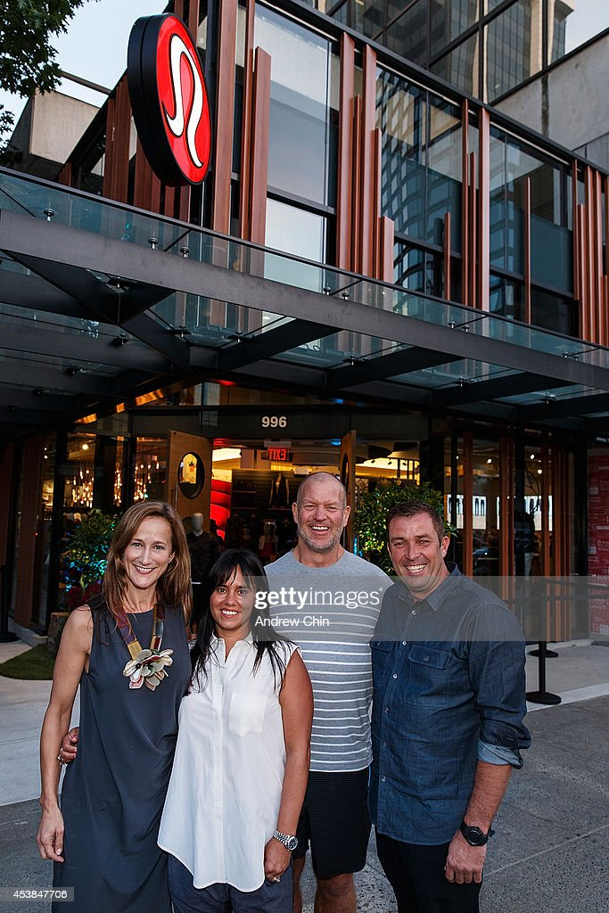 Chief Product Officer Tara Poseley, Executive Vice President Retail Operations Delaney Schweitzer, Lululemon Founder Chip Wilson and Lululemon CEO Laurent Potdevin attend the Lululemon Athletica flagship store opening party at 970 Robson Street on August 19, 2014 in Vancouver, Canada.