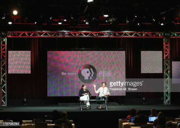 Chief Programming Executive and GM of General Audience Programming at PBS Beth Hoppe and actress Miranda Hart speak onstage during the 'Call The...