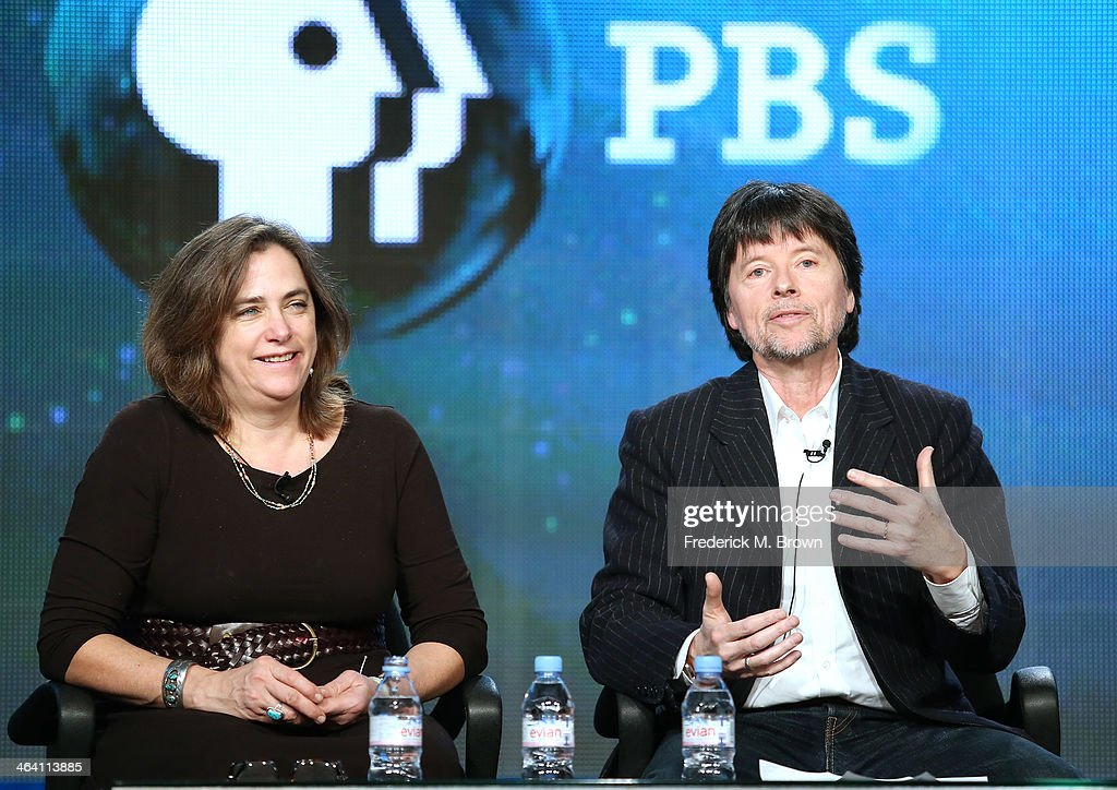Chief Programming Officer PBS Beth Hoppe and filmmaker Ken Burns speak onstage during the 'Ken Burns's The Address' panel discussion at the PBS...