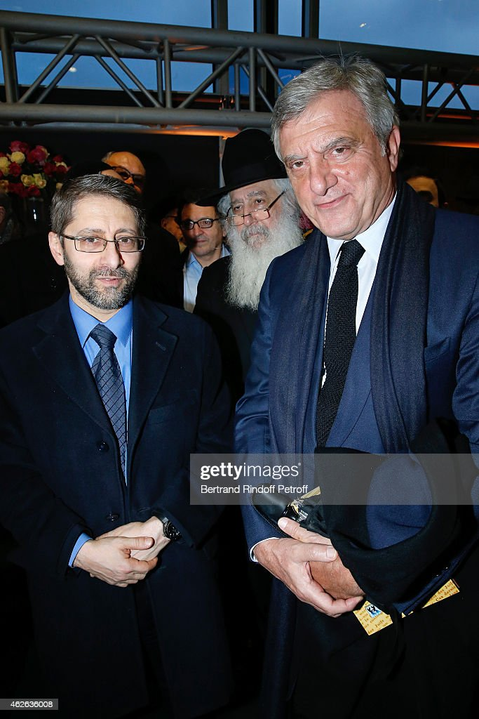 Chief Rabbi of France Haim Korsia and CEO Dior Sidney Toledano attend HRH The Princess Lalla Meryem of Morocco delivers the insignia of the Order of the Throne. Held at Institut du Monde Arabe on February 1, 2015 in Paris, France.