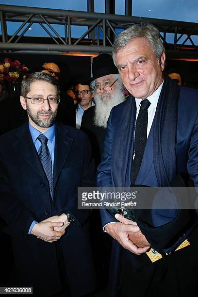 Chief Rabbi of France Haim Korsia and CEO Dior Sidney Toledano attend HRH The Princess Lalla Meryem of Morocco delivers the insignia of the Order of...
