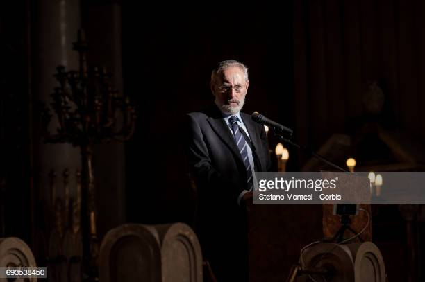 Chief Rabbi of Rome Riccardo Di Segni speaks at the 50th anniversary Celebration of the exodus of the Jews of Libya at the Great Synagogue of Rome on...
