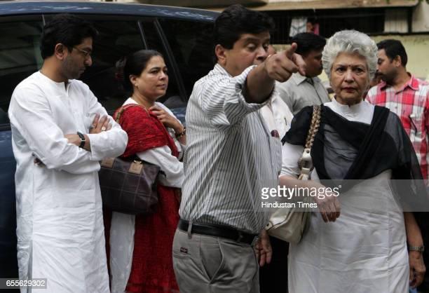MNS chief Raj Thackeray at the funeral of his fatherinlaw Mohan Wagh at Dadar on Thursday Actress Reema Lagoo and Shashikala is seen alongside Raj