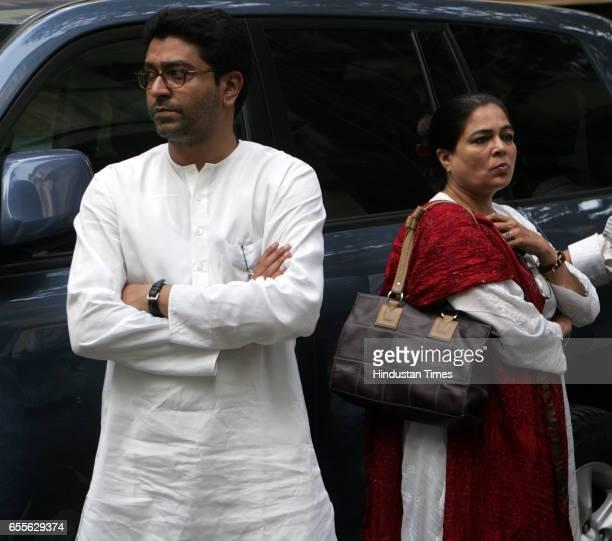 MNS chief Raj Thackeray at the funeral of his fatherinlaw Mohan Wagh at Dadar on Thursday Actress Reema Lagoo is seen alongside Raj