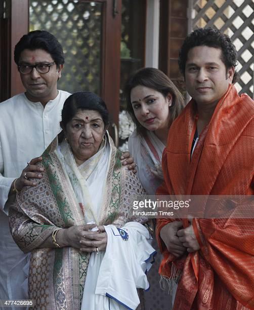 MNS chief Raj Thackeray Master blaster Sachin Tendulkar and veteran singer Lata Mangeshkar met during an event at Raj Thackeray's residence for the...