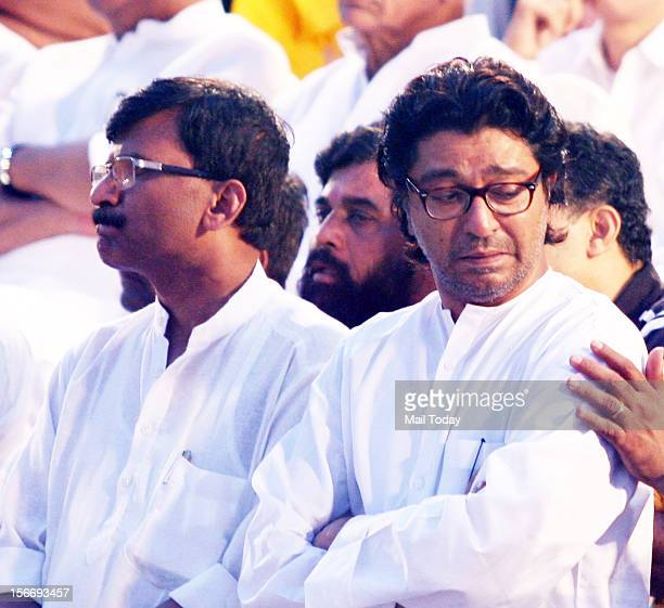 Chief Raj Thackerey broke down at the funeral of Shiv Sena Chief Balasaheb Thackeray in Mumbai on November 18 2012