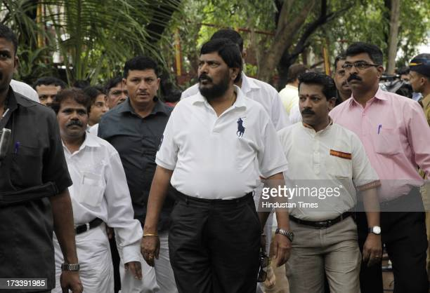Chief Ramdas Athawale arrives to pay his last respects to Bollywood actor Pran during the cremation at Shivaji Park Crematorium Dadar on July 13 2013...