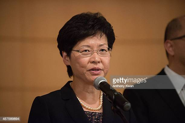 Chief Secretary for Administration of Hong Kong Government Carrie Lam speaks to the meidia after the meeting with Hong Kong Ferdatation of Students...