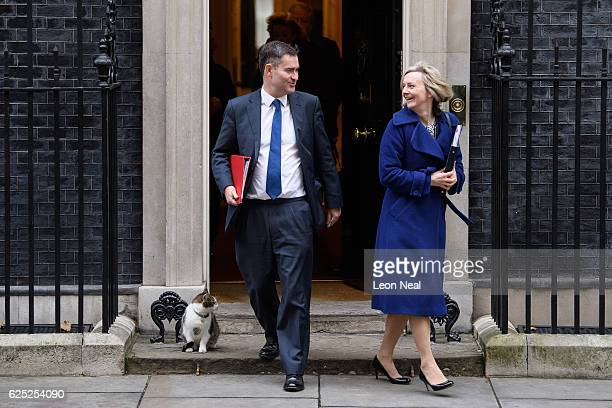 Chief Secretary to the Treasury David Gauke and Justice Secretary Liz Truss leave following a Cabinet meeting at Downing Street on November 23 2016...