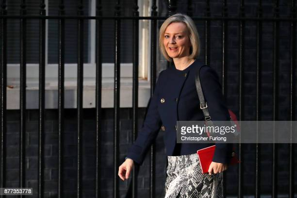 Chief Secretary to the Treasury Elizabeth Truss arrives for a cabinet meeting ahead of the Chancellor's annual budget at 10 Downing Street on...