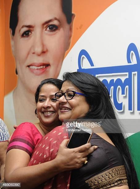 Chief Spokesperson Sharmistha Mukherjee with New Delhi Pradesh Mahila Congress President and former Chairperson of Delhi Commission for Women Barkha...