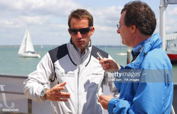 PA chief sports writer Frank Malley interviews Triple Olympic Gold medallist Ben Ainslie of Great Britain during a Round the Island Race Photocall at...