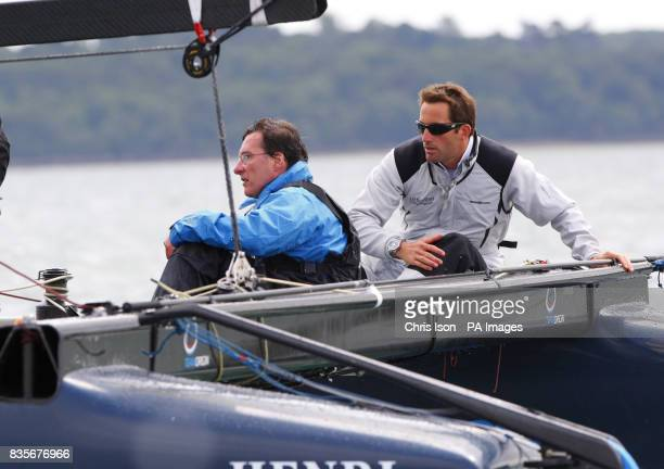 PA chief sports writer Frank Malley with Triple Olympic Gold medallist Ben Ainslie of Great Britain during a Round the Island Race Photocall at the...