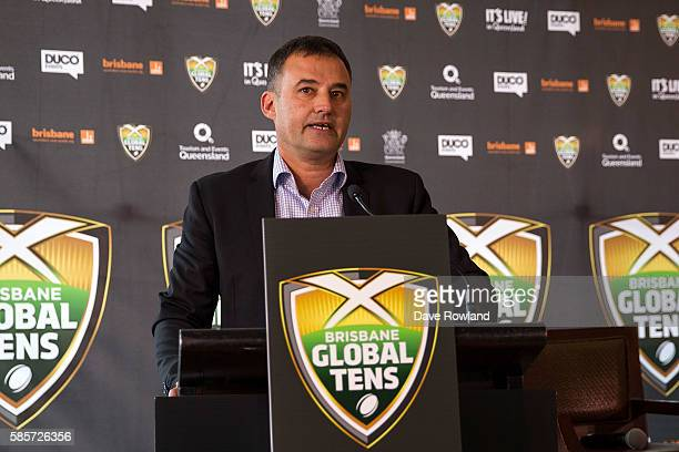 Chief Strategy Operations Officer New Zealand Rugby Nigel Cass speaks to the media during the Rugby 10's Launch at Spencer on Byron Hotel on August 4...