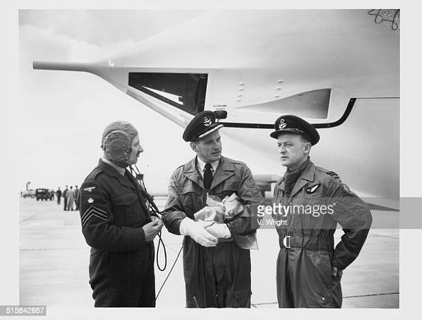 Chief Tech Alan Algeo Group Captain Johnny Bannister and Station Commander James Bannister inspecting the Handley Page 'Vector' RAF Bomber Cottesmore...