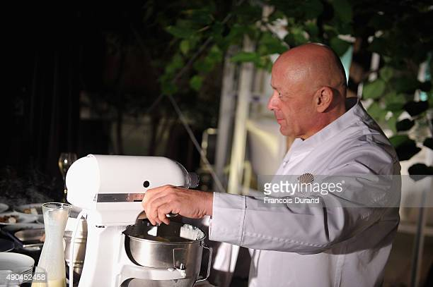 Chief Thierry Marx cooks during the J'aime La Mode event at Hotel Mandarin Oriental on September 28 2015 in Paris France
