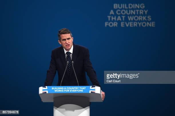 Chief Whip Gavin Williamson speaks on the last day of the Conservative Party Conference at Manchester Central on October 4 2017 in Manchester England