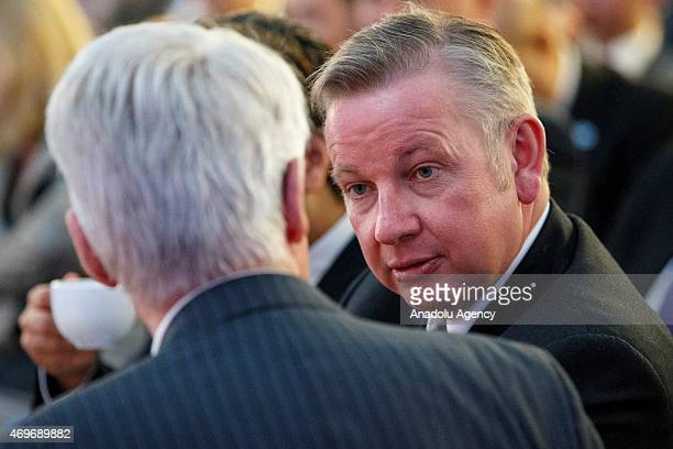 Chief Whip Michael Gove attending the Conservative Party manifesto launch ahead of the UK general election in at UTC Swindon College in Swindon...