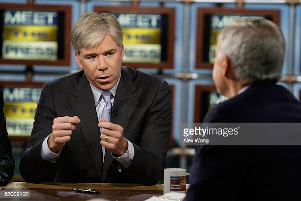 NBC Chief White House Correspondent David Gregory speaks as moderator Tom Brokaw look on during a taping of 'Meet the Press' at the NBC studio July...