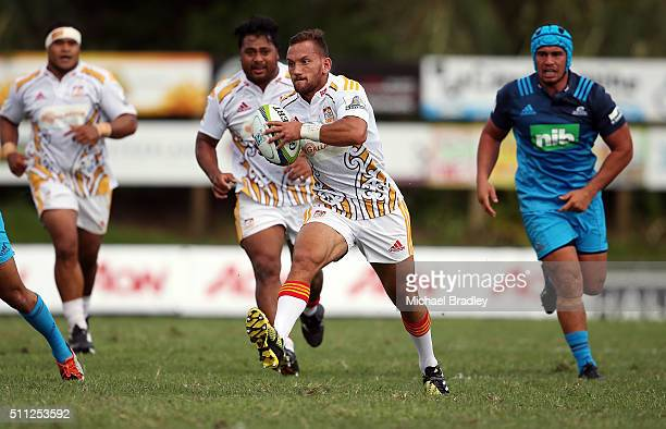Chiefs Aaron Cruden in action during the Super Rugby preseason match between the Blues and the Chiefs at Pukekohe Stadium on February 19 2016 in...