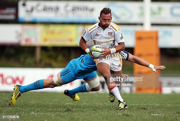 Chiefs Aaron Cruden makes a break during the Super Rugby preseason match between the Blues and the Chiefs at Pukekohe Stadium on February 19 2016 in...