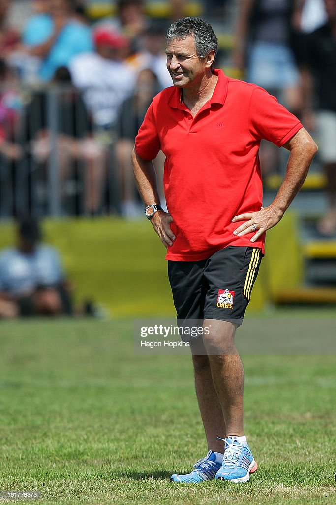 Chiefs assistant coach Wayne Smith looks on during the Super Rugby trial match between the Hurricanes and the Chiefs at Mangatainoka RFC on February 16, 2013 in Mangatainoka, New Zealand.