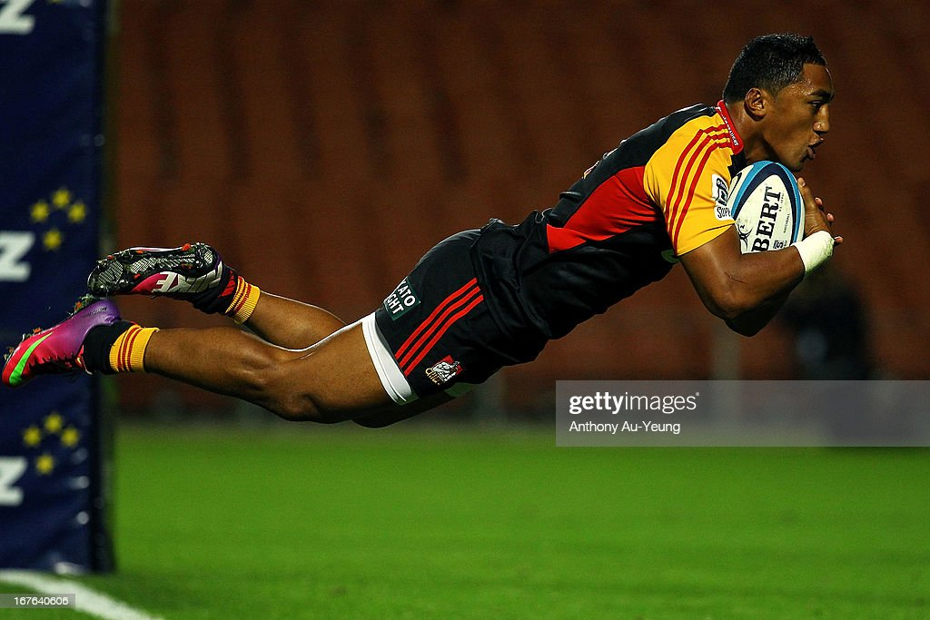 Chiefs' Bundee Aki dives for the try during the round 11 Super Rugby match between the Chiefs and the Sharks at Waikato Stadium on April 27, 2013 in Hamilton, New Zealand.