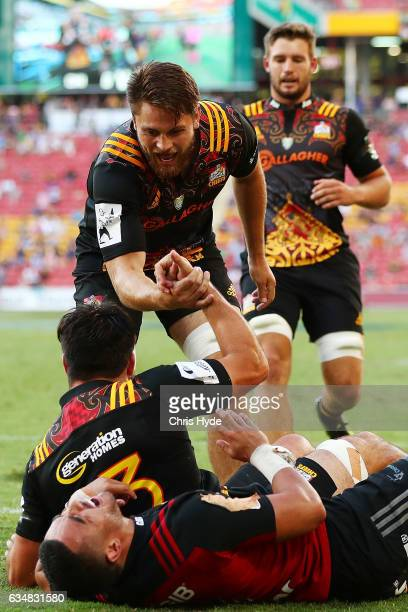 Chiefs celebrate a try by Luke Jacobson during the Rugby Global Tens Final match between Chiefs and Crusaders at Suncorp Stadium on February 12 2017...