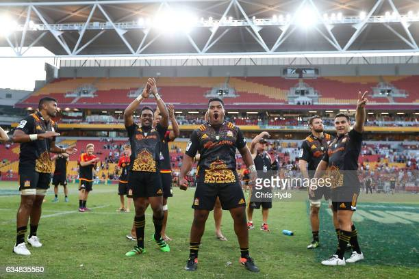 Chiefs celebrate winning the Rugby Global Tens Final match between Chiefs and Crusaders at Suncorp Stadium on February 12 2017 in Brisbane Australia