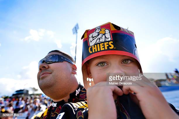 Chiefs fans enjoy the pre match atmosphere during the Super Rugby trial match between the Chiefs and the Waratahs at Rotorua International Stadium on...
