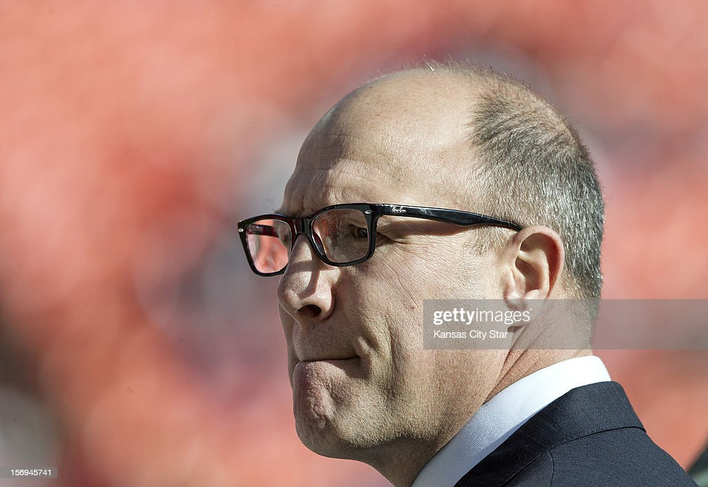 Chiefs general manager Scott Pioli attends Kansas City's game against the Denver Broncos at Arrowhead Stadium on Sunday, November 25, 2012, in Kansas City, Missouri. The Denver Broncos defeated the Kansas City Chiefs, 17-9.
