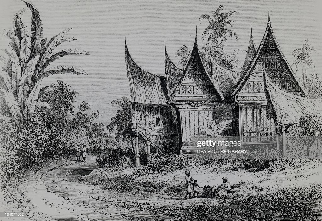 Chief's house on the Indonesian island of Sumatra, engraving from Alfred Russel Wallace's (1823-1913) expedition in Australia and the neighboring islands. Indonesia, 19th century.