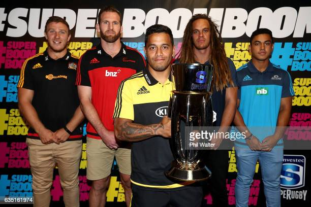 Chiefs Nathan Harris Crusaders Kieran Read Hurricanes Te Toiroa Tahuriorangi Highlanders Dan Pryor and Blues Stephen Perofeta pose following the...