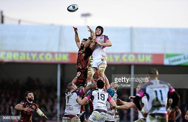 Chiefs player Don Armand and James King of the Ospreys compete for lineout ball during the European Rugby Champions Cup match between Exeter Chiefs...