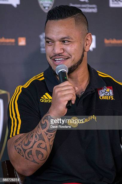 Chiefs Player Hika Elliot speaks to the media during the Rugby 10's Launch at Spencer on Byron Hotel on August 4 2016 in Auckland New Zealand The...
