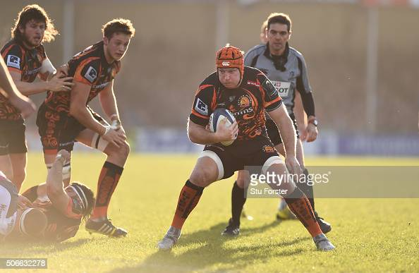 Chiefs player Thomas Waldrom makes a break during the European Rugby Champions Cup match between Exeter Chiefs and Ospreys at Sandy Park on January...