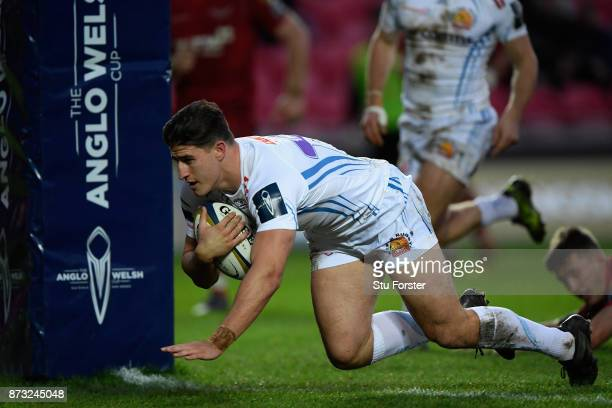 Chiefs player Tom Hendrickson scores under the posts during the Anglo Welsh Cup match between Scarlets and Exeter Chiefs at Parc y Scarlets on...
