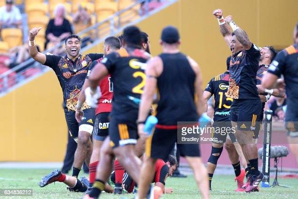 Chiefs players celebrate victory after the Rugby Global Tens Final match between the Crusaders and Chiefs at Suncorp Stadium on February 12 2017 in...