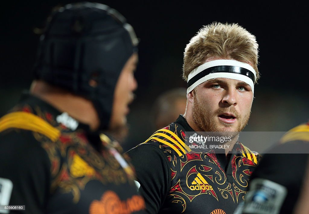 Chiefs' Sam Cane reacts during the Super Rugby match between the Waikato Chiefs of New Zealand and Coastal Sharks of South Africa at Yarrow Stadium in New Plymouth on April 29, 2016 / AFP / MICHAEL