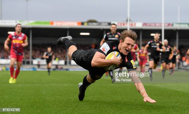 Chiefs wing Lachie Turner dives over for the first try during the Aviva Premiership match between Exeter Chiefs and Harlequins at Sandy Park on...