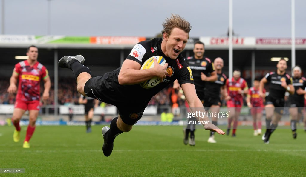 Chiefs wing Lachie Turner dives over for the first try during the Aviva Premiership match between Exeter Chiefs and Harlequins at Sandy Park on November 19, 2017 in Exeter, England.