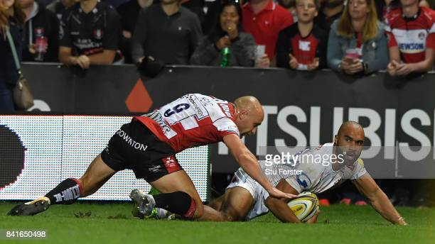 Chiefs wing Olly Woodburn crosses for the third Chiefs try during the Aviva Premiership match between Gloucester Rugby and Exeter Chiefs at Kingsholm...