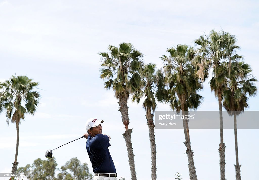 Chien Soon Lu of Taiwan hits a tee shot on the third hole during the third round of the Toshiba Classic at the Newport Beach Country Club on March 7, 2010 in Newport Beach, California.